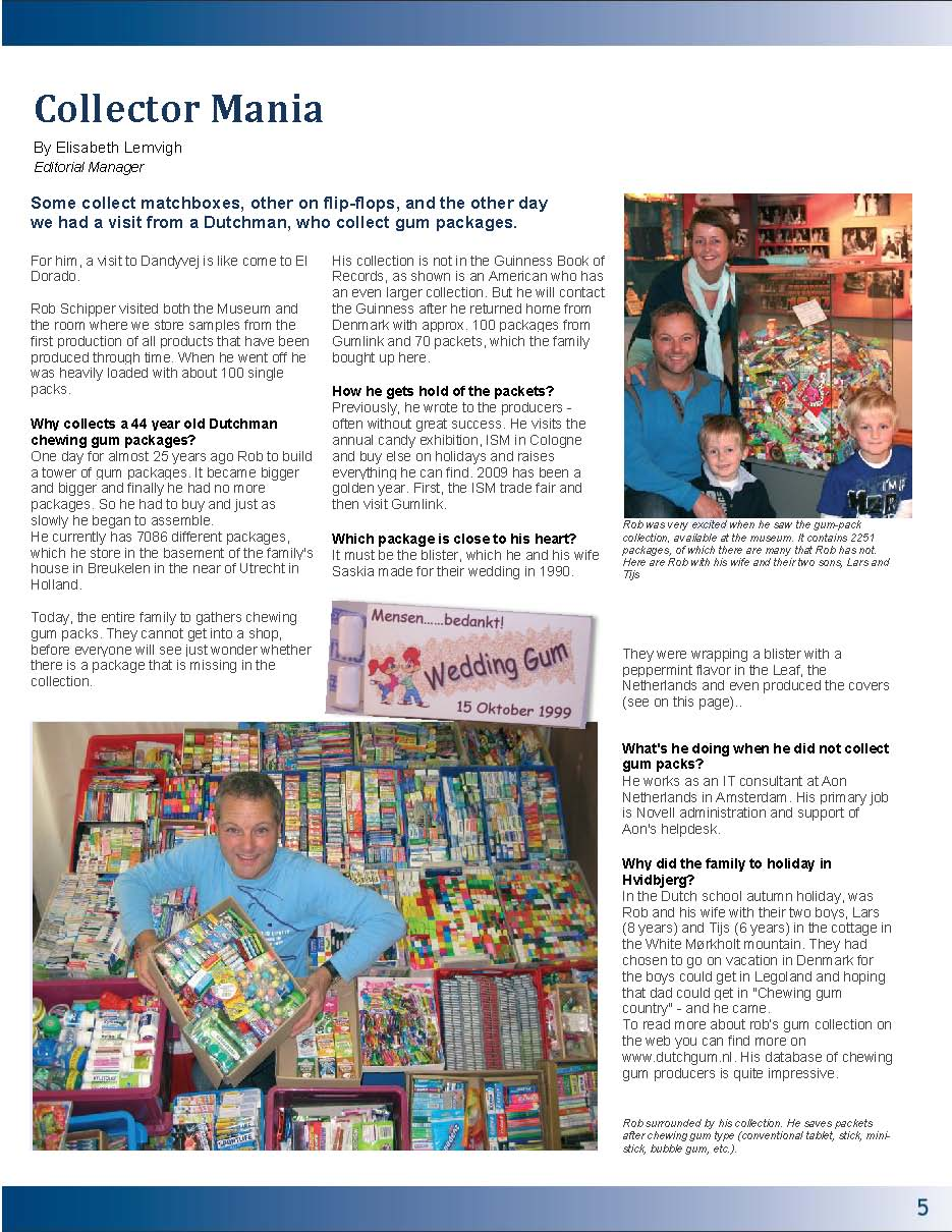 Translated Article about DutchGum.nl in Tabletten the inhous magazine of the Gumlink Company